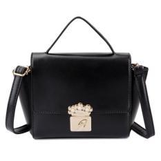 KGS Tas Selempang Wanita Impor Casual Formal Floral Lock Mini Satchel Bag - Hitam