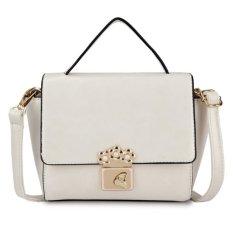 KGS Tas Selempang Wanita Impor Casual Formal Floral Lock Mini Satchel Bag - Putih
