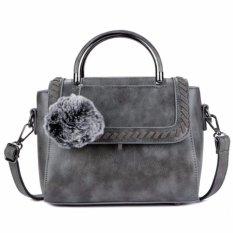 Spesifikasi Kgs Tas Casual Wanita Woven Fur Flap Tassel Satchel Bag Abu Beserta Harganya