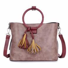 Harga Kgs Tas Casual Wanita Woven Impor Round Handle Mini Tote Bag Deep Pink Fullset Murah