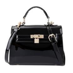KGS Tas Casual/Formal Wanita Elegant Glossy Locked Mini Handbag Hitam