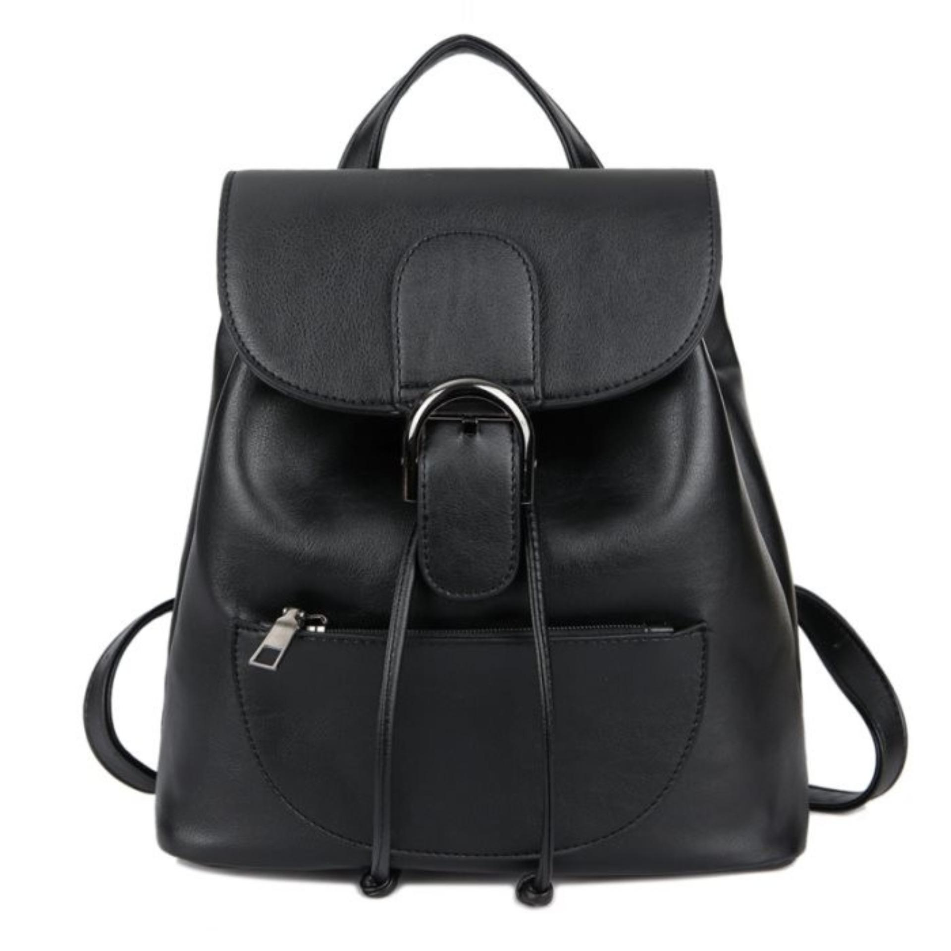 KGS Tas Ransel Mini Backpack Wanita Casual Buckled Flap Hitam