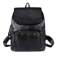 KGS Tas Ransel Backpack Wanita Casual Woven Flap - Hitam