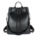 Toko Kgs Tas Ransel Backpack Wanita Kerja Casual Croco Two Zippers Hitam Yang Bisa Kredit