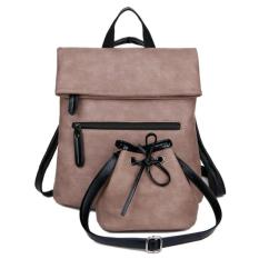 KGS Tas Ransel Backpack Wanita Kerja Casual Folded Closure with Bucket Pouch - Pink