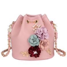 KGS Tas Selempang Wanita Impor Casual Pesta Flowers Bucket Sling Bag - Pink