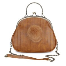 Promo Toko Kgs Tas Selempang Wanita Impor Casual Stitches Fur Tassel Frame Sling Bag Coklat