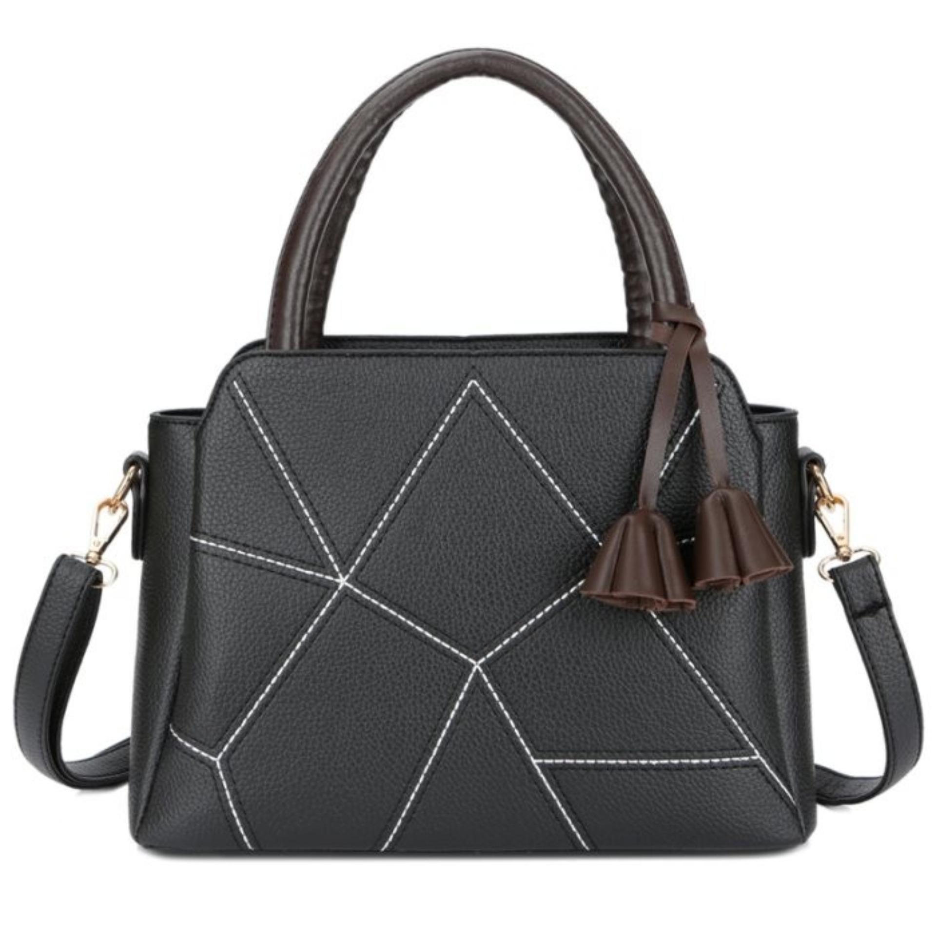 Stylish   Trendy KGS Tas Wanita Selempang Casual Cracked Tassel Handbag -  Hitam b875117699