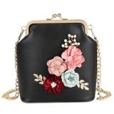 Spesifikasi Kgs Tas Wanita Selempang Casual Formal Flowers Frame Bag Hitam Online