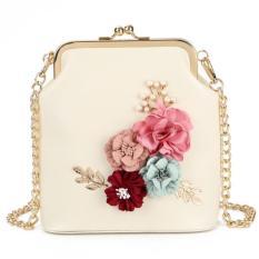 KGS Tas Wanita Selempang Casual Formal Flowers Frame Bag - Putih