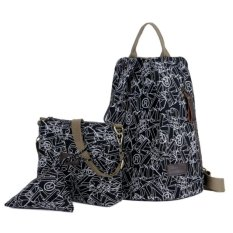 Promo Toko Kgs Tas Ransel Backpack Wanita Impor Casual Sekolah Alphabet 3 In 1 Hitam