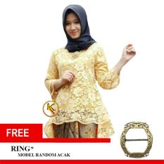 Khalifah Kebaya Brukat Wanita Modern Muslim Premium Baju Atasan Wanita Free Ring