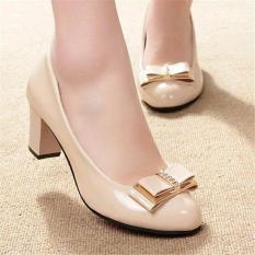 Jual Khalista Collections Block Heels Women Glossy Roundtoe Flatform Pantofel Cream Lengkap