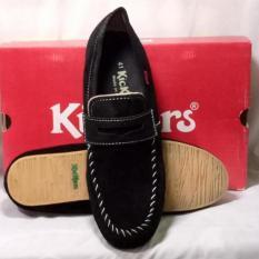 Kickers Sepatu Pria slip on Kulit Asli Model KS 008 Black
