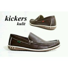 Kickers Slip On Kulit Garut Asli Sepatu Slop Santai Formal Pria