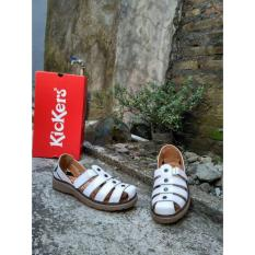 Beli Flat Shoes Kickers Cewek Warna Putih Strip Online Murah