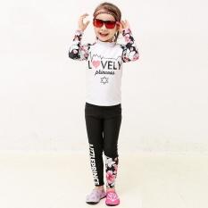 KID Girl Beachwear 2 Pieces Cute Floral Print Tabir Surya Lengan Panjang Celana Panjang Swimsuit 7100 (Putih)-Intl