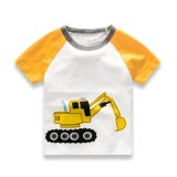 Toko Kids Baby Boys Girls Short Raglan Sleeve Round Collar Tops T Shirt With Cute Excavating Machinery Printing Termurah Di Tiongkok