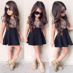 Kids Baby Girls Leopard Printing Gaun Tanpa Lengan Bang Pendek Pakaian
