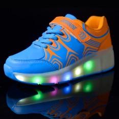 Anak Laki-laki Perempuan Tinggi Top Sepatu LED Light Up Heelys Roda Roda Tunggal Tunggal dengan Roda Skate Sepatu Sneaker Unisex-Intl