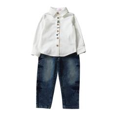 Anak-anak Remaja Lelaki Long Sleeve Kapas Kemeja Tops Jeans Celana Pakaian Pakaian-Intl