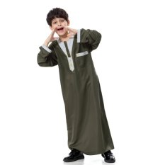 Anak-anak Bordir Muslim Robe untuk 5-15 Tahun Anak Laki-laki Pakaian Sehari-hari Teenage Arab Abaya Islam Fashion Jubah-Intl