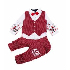 Jual Kids Fashion Setelan Party 3 In 1 Tuxedo Kotak Dasi Kupu Red F962 Quincybaby Ori