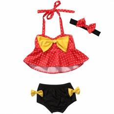 Anak-anak Perempuan Polka Titik Baju Renang Bathing Setelan Beachwear (Menyajikan Ikat Kepala)-Internasional
