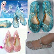 Kids Girls Fancy Crystal Frozen Anna&Elsa Cinderella Cosplay Party Sandals Glod White - intl