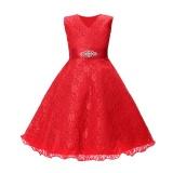 Spesifikasi Anak Gadis Sleeveless Tutu Gaun Prom Pesta Gaun Ulang Tahun Putri Gaun With Belt Terbaik