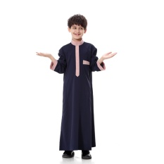Anak-anak Kaftan Abaya Boy Jubba Islam Jubah Muslim Jubba Thobe Pakaian Islam Pakaian Pakaian Muslim Pria Gaun Islam # CL170913C02 [Biru]-Intl