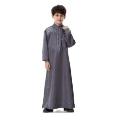 Anak-anak Kaftan Abaya Boy Jubba Islam Jubah Muslim Jubba Thobe Pakaian Islam Pakaian Pakaian Muslim Pria Gaun Islam # CL170913C03 [abu-abu]-Intl