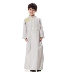 Anak-anak Kaftan Abaya Anak Laki-laki Jubba Islam Jubah Muslim Jubba Thobe Pakaian Islam Pakaian Pakaian Muslim Pria Gaun Islam # CL170913C03 [Grey Perak]-Internasional