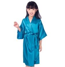 Anak-anak Warna Polos Satin Anak Kimono Jubah Bridesmaid Bunga Perempuan Gaun Anak Bathrobe Gaun Tidur Bayi Perempuan Rumah Aus internasional