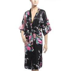 Kimono Jepang Merak Panjang Robe Satin Malam Gaun Gaun Lingerie Hitam-Intl