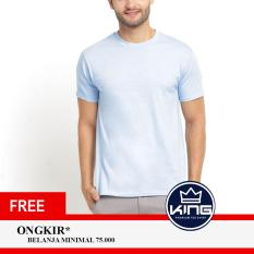 Kingsman Kaos Pria Premium Polos - Plain T-Shirt Distro Light Blue