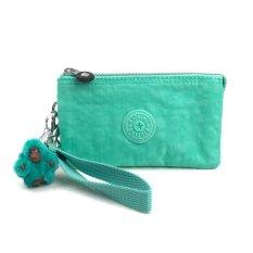Kipling Creativity L Nylon Wallet Purse Cosmetic Pouch With Wristlet Mojito Green 68T Intl Asli