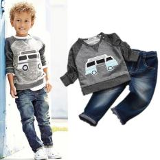 Harga Kisnow 2 Pieces Boys 1 10 Years Old 80 135Cm Body Height Cotton Cartoon T Shirts Jeans Pant Color As Pic Intl Kisnow Original