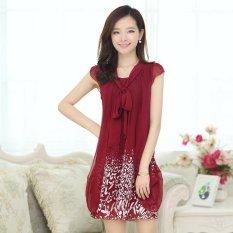 Beli Barang Kisnow Baru Fashion Dicetak Slim Serat Pendek Sifon Lengan Fairy Gaun Pengantin Dress Midi Warna Anggur Merah Int M Intl Online