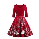 Toko Jual Kisnow S 4Xl Lady Retro Swan 3 4 Lengan Pinggang Tengah Pop Maxi Gaun Warna Merah Intl