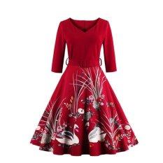 Toko Kisnow S 4Xl Lady Retro Swan 3 4 Lengan Pinggang Tengah Pop Maxi Gaun Warna Merah Intl Di Tiongkok