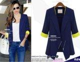 Ulasan Kisnow Slim Korea Fashion 3 4 Lengan Jas Linen Ringan Jackets Color Biru Intl