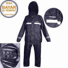 Kitaco Jas Hujan Stelan Jaket Celana 2 Lapis Bahan dan Desain Mirip Seperti Jas Hujan Axio - Hitam