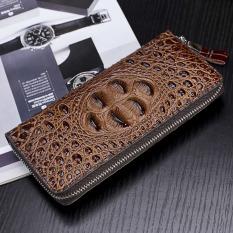 Pola Kulit Buaya tas tangan pria model panjang ritsleting Dompet pria tas kulit CLASSIC bisnis tas