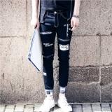 Beli Celana Jeans Pria Berlubang Motif Cetak Membentuk Tubuh Versi Korea Hitam Hitam Online