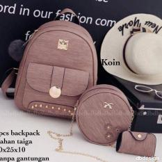 Tas BACKPACK/Ransel/TAS MINI BACKPACK/Tas Anak/Tas 3in1/Tas 4in1/TAS CROS BODY/TAS Drawstring backpack/Tas Messenger/Tas Chanel/Tas Dior/Tas FendI/Tas Louis Vuitton/Tas Prada/Tas Gucci/Tas murah KOIN 3PC BACKPACK BROWN