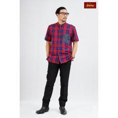 Koko Ayah Dannis Baju Muslim Sarimbit Country Side - Merah Kotak Kotak - Lengan Pendek