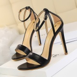 Spesifikasi Fashion Ankle Tali High Heels Sandal Wanita Sandal Bertumit Peep Toe Partai Wanita Sepatu Stiletto Tinggi Bertumit Sepatu Round Wanita Sepatu Hitam Murah