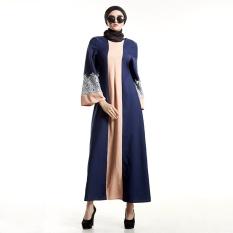 Patchwork Fesyen Wanita Muslim Lengan Panjang Jubah Lace Dress O-Leher Maxi Abaya Jalabiya Islam Wanita Gaun Jubah Kaftan Muslim Dipakai (Biru)