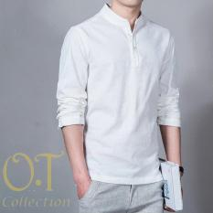 [Koko Hamish White OT] Baju Koko Pria Katun Twill Lengan Panjang Putih
